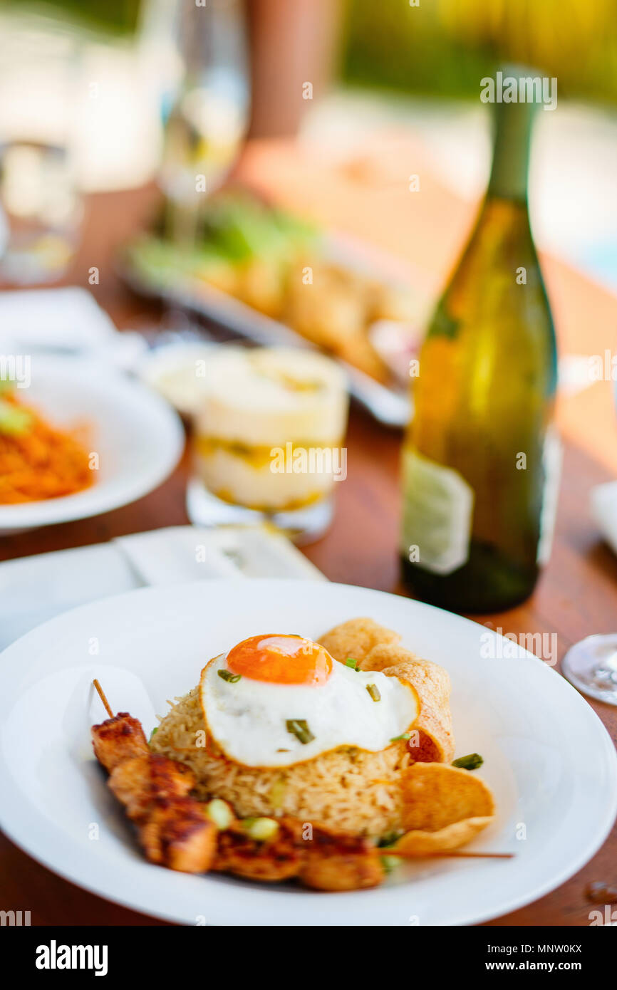 Close up of delicious fried rice dish served for lunch - Stock Image