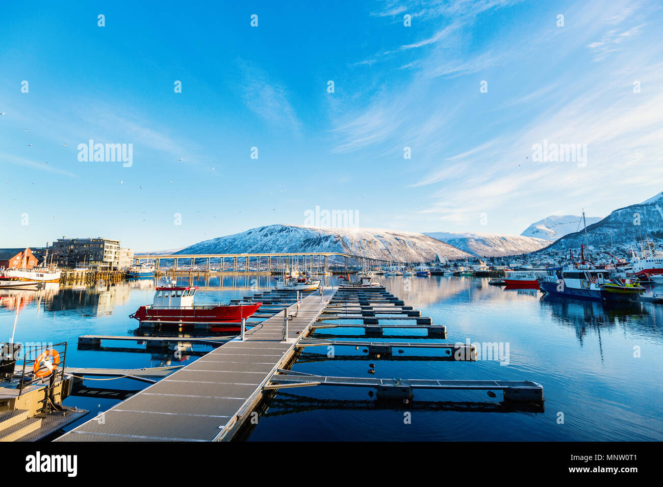 Beautiful town of Tromso in Northern Norway - Stock Image