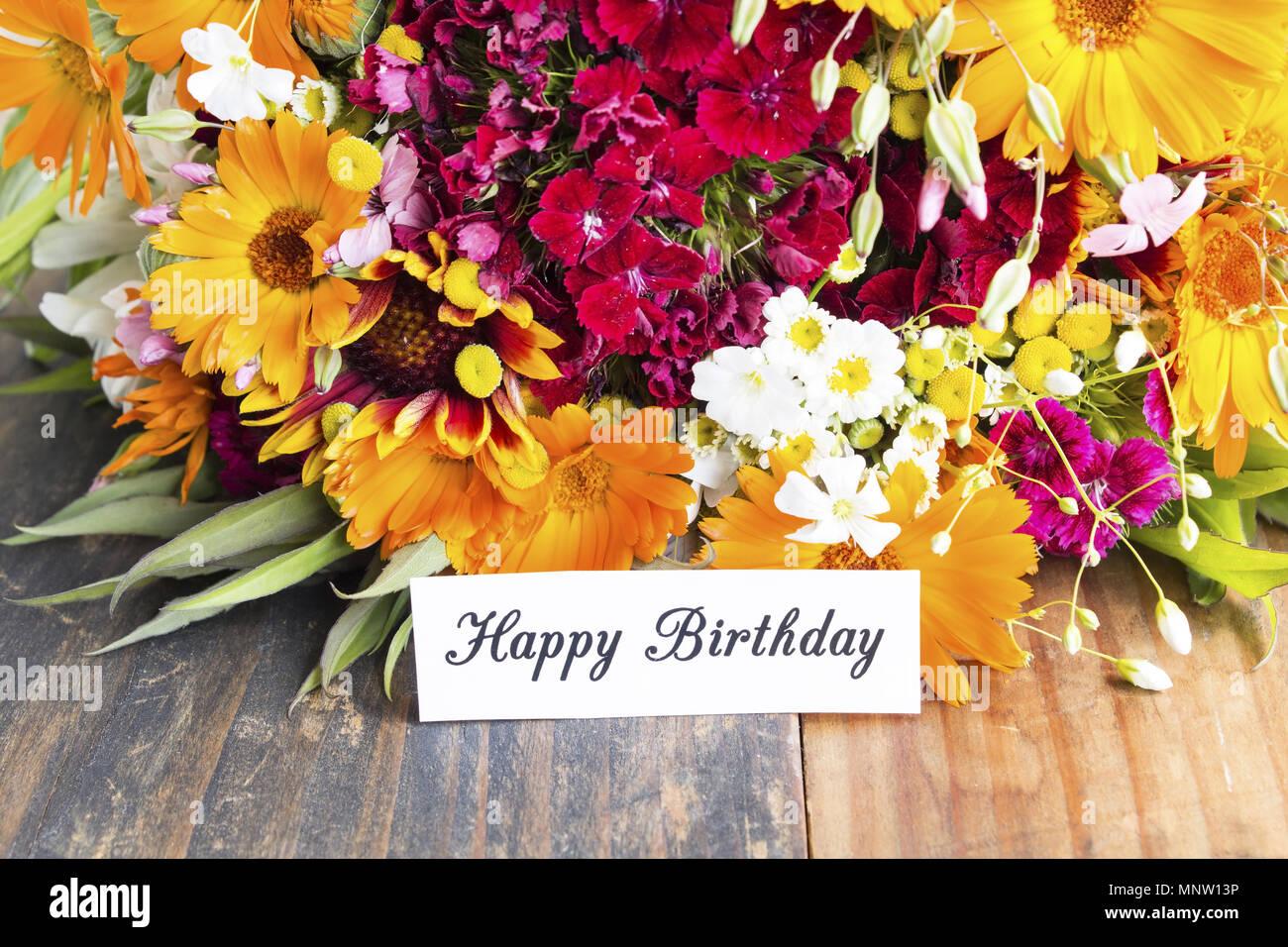 Happy Birthday Card With Spring Flowers Stock Photo 185561146 Alamy