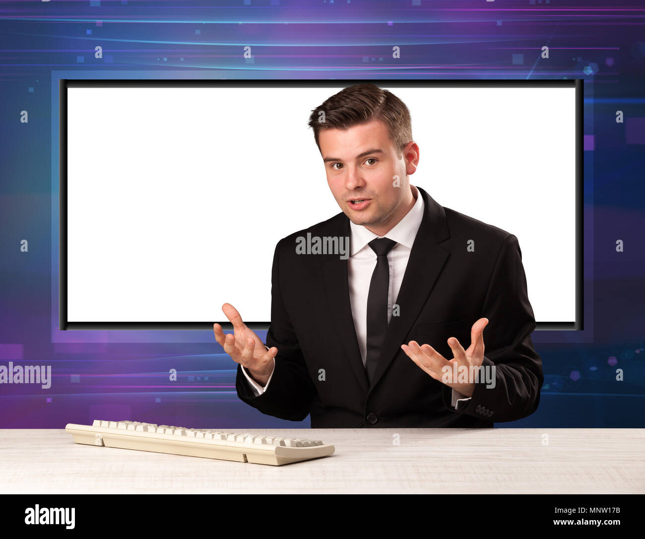 Television program host with big copy screen in his back concept - Stock Image