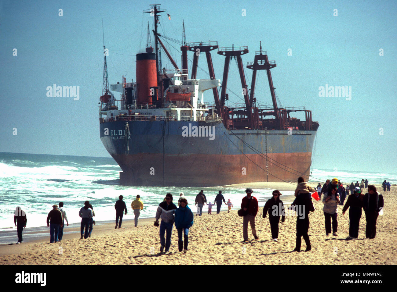 The Greek ship Eldia, aground off East Orleans, Masachusetts, USA - March 29, 1984 - Stock Image