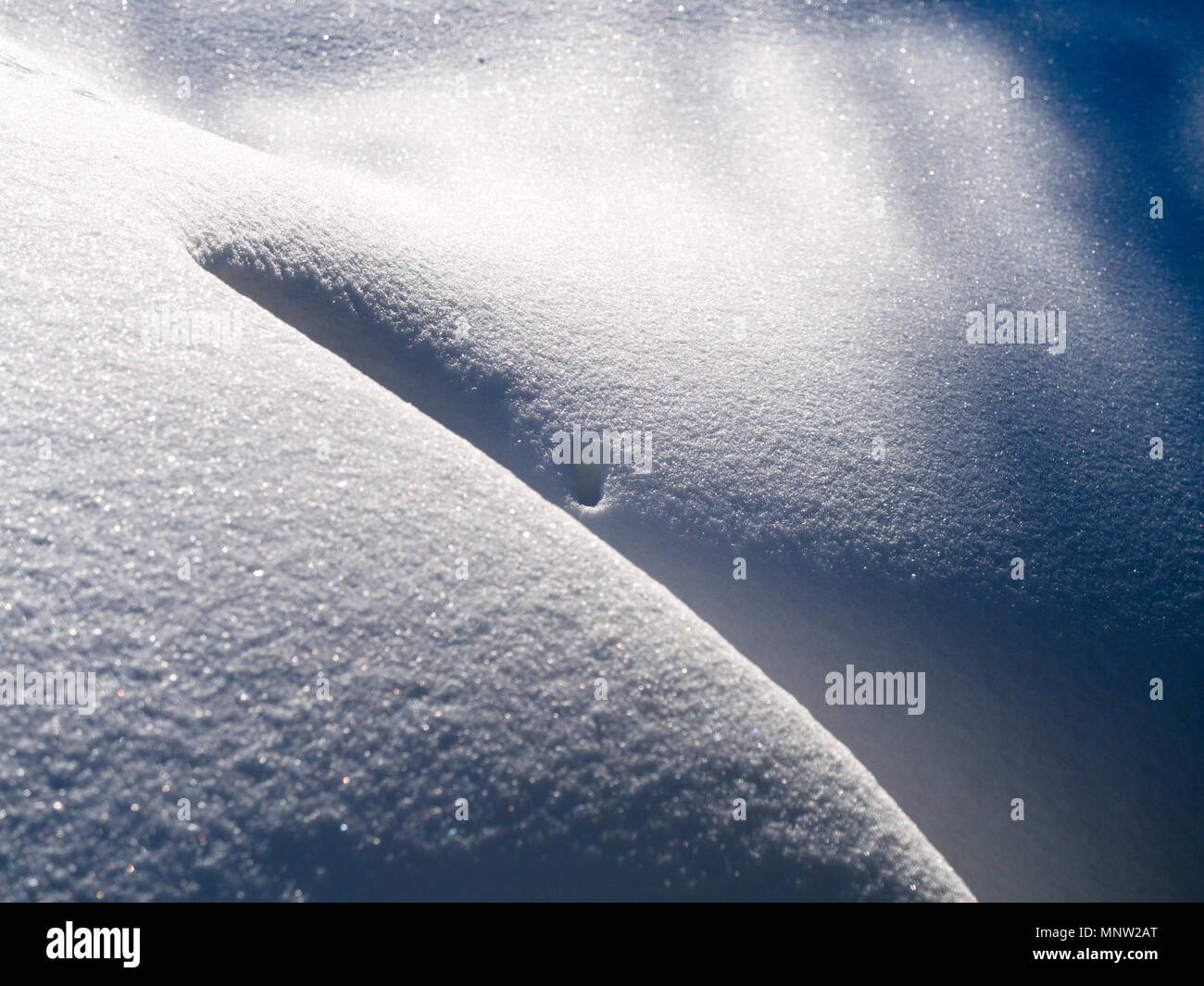 Snowdrift in the sunshine: A deep powdery snow drift makes a smooth pattern in the early morning sunshine. - Stock Image