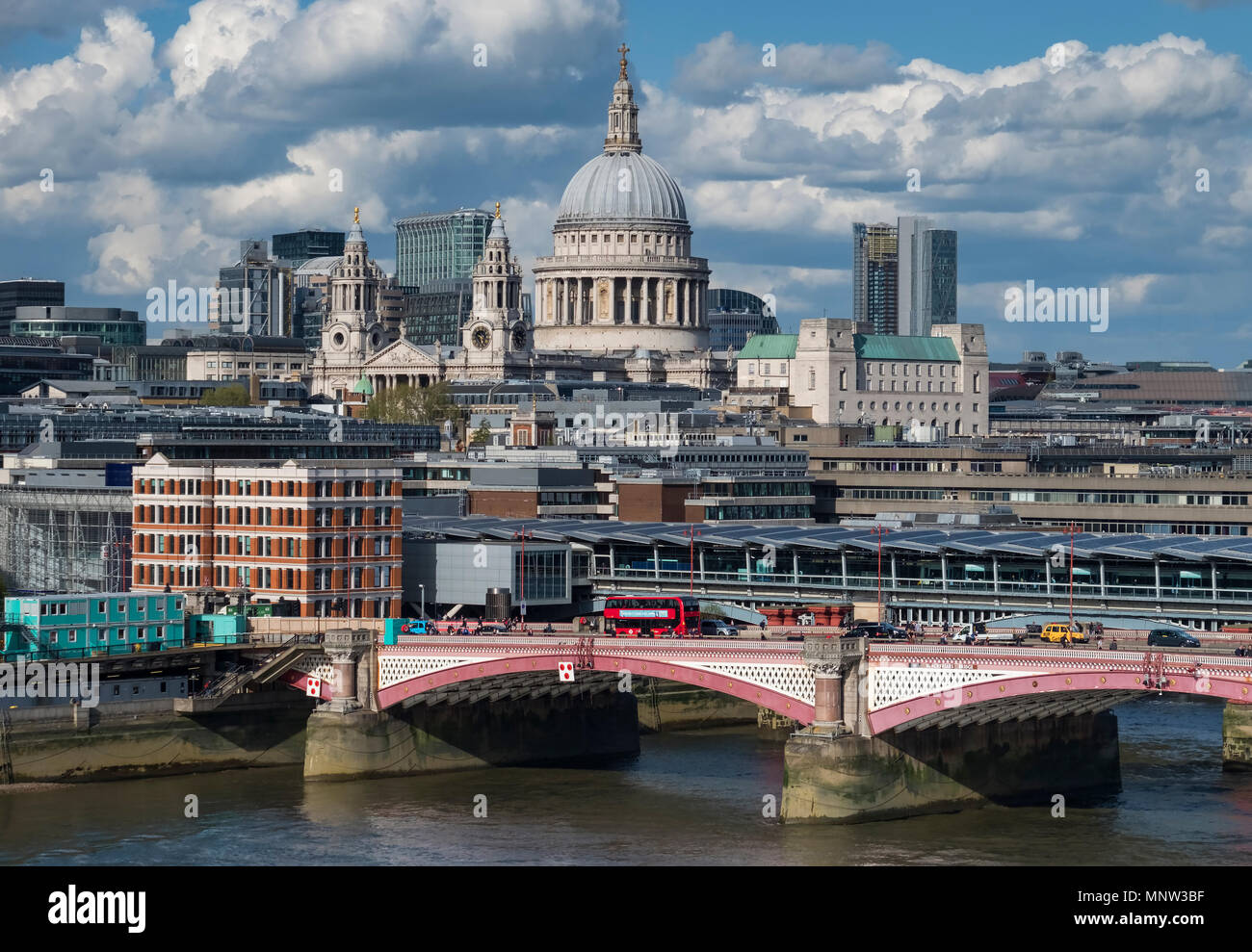 St Paul's Cathedral, Blackfriars Bridge & the River Thames, London, England, UK - Stock Image