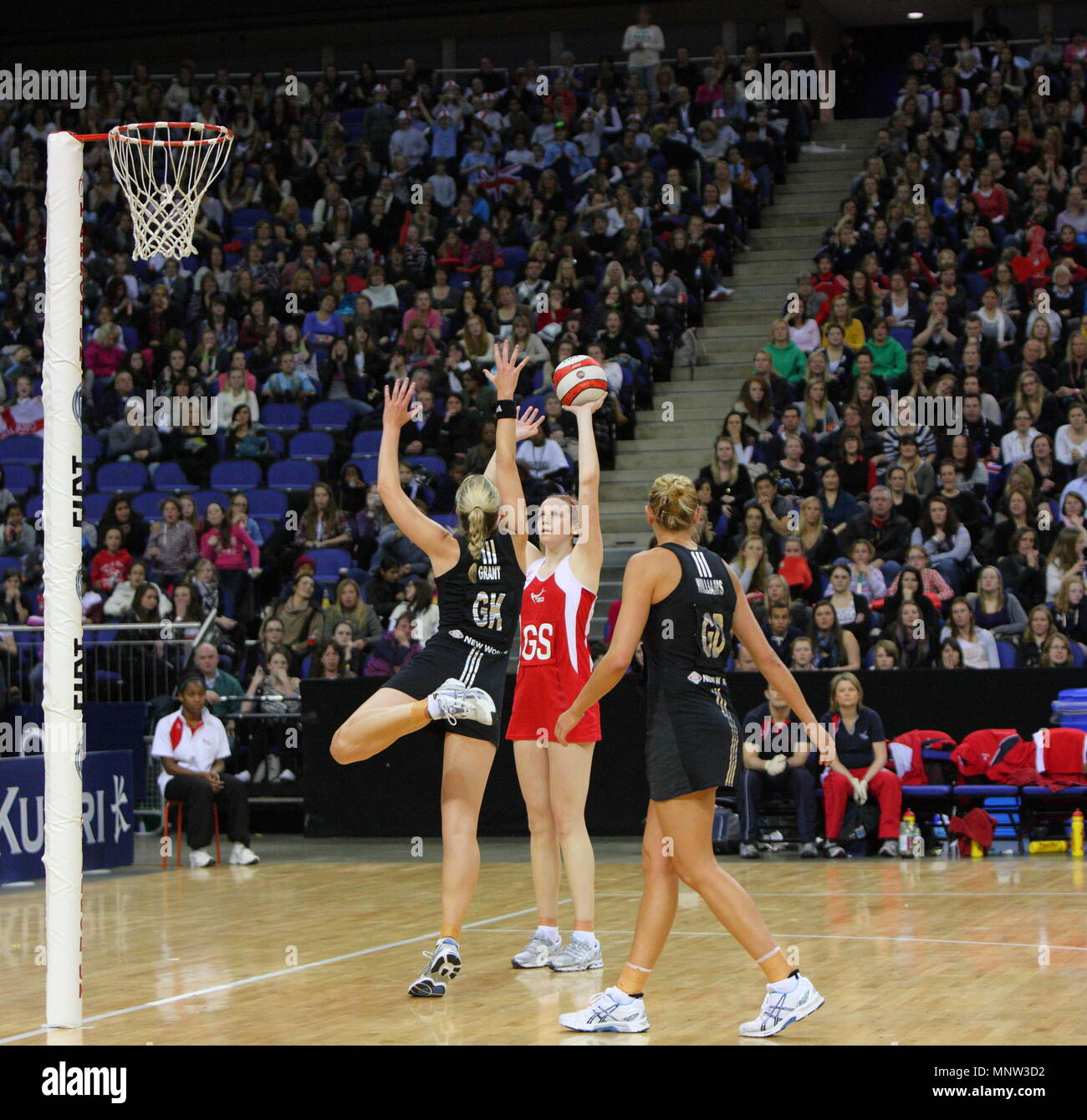 Katrina Grant defends against Joanne Harten of England during the FIAT International Netball Series match England vs New Zealand played at The 02 Arena in London, England, UK. - Stock Image