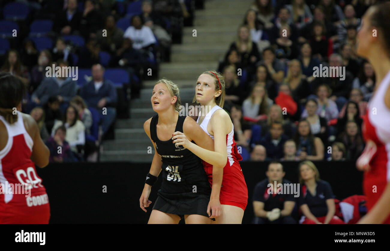 Joanne Harten of England and Katrina Grant during the FIAT International Netball Series match England vs New Zealand played at The 02 Arena in London, England, UK. - Stock Image