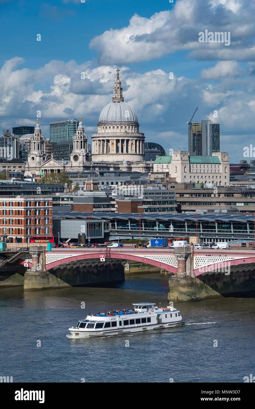 St Paul's Cathedral, Blackfriars Bridge & the River Thames, London, England, UK - Stock Image