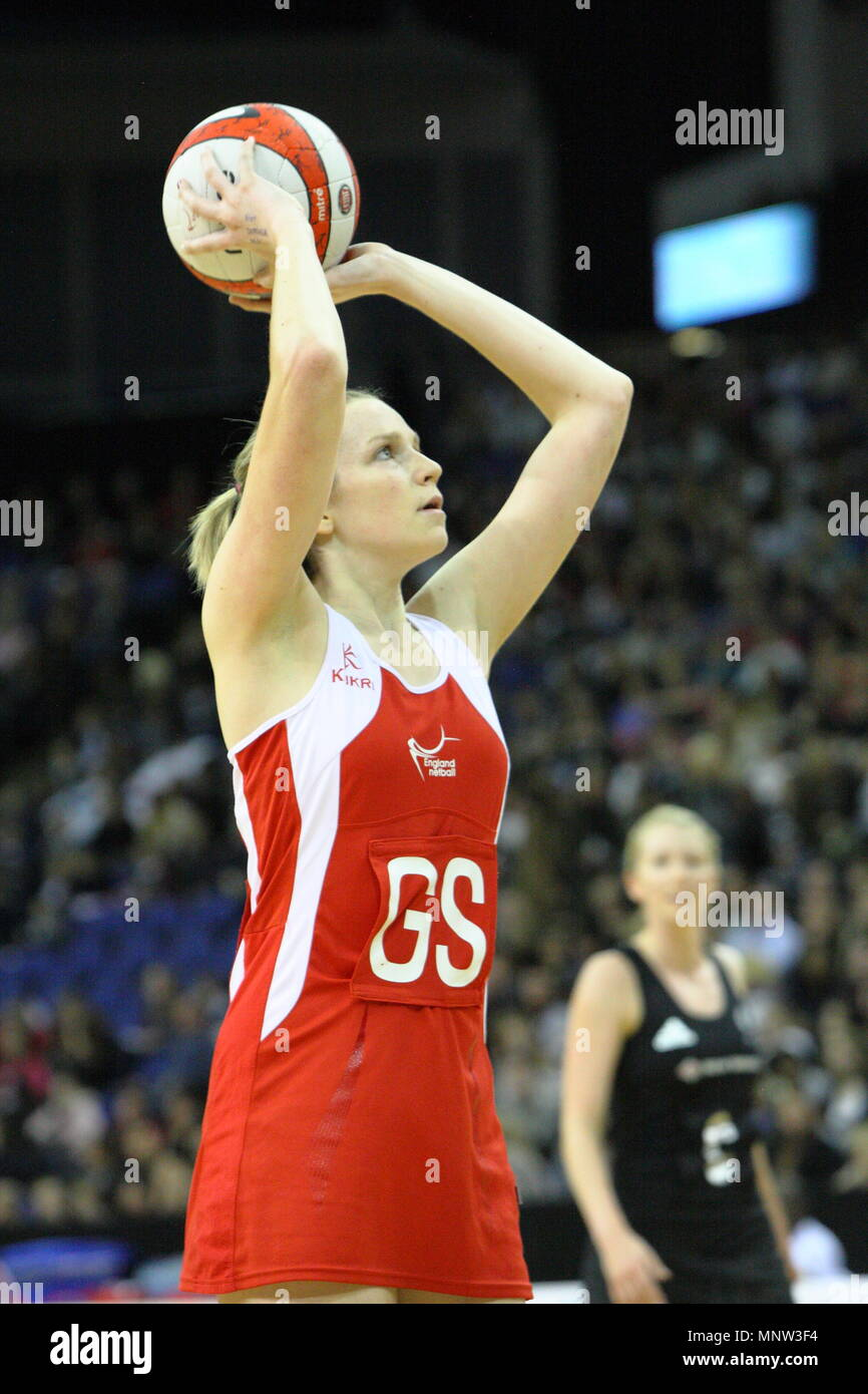 Joanne Harten of England shoots for goal during the FIAT International Netball Series match England vs New Zealand played at The 02 Arena in London, England, UK. - Stock Image