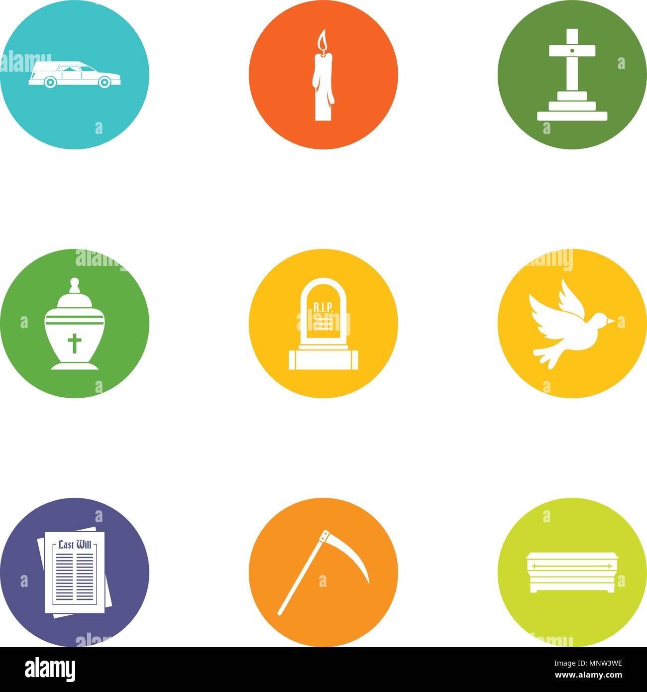 Fatality icons set, flat style - Stock Image
