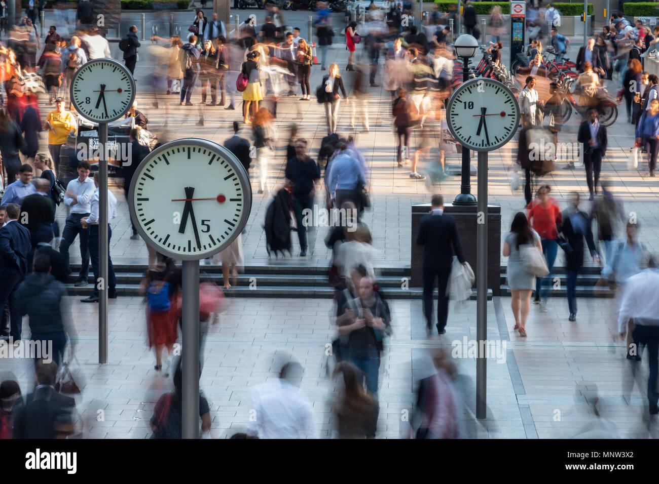 Time and Motion, Six Public Clocks, Canary Wharf, London, England, UK - Stock Image
