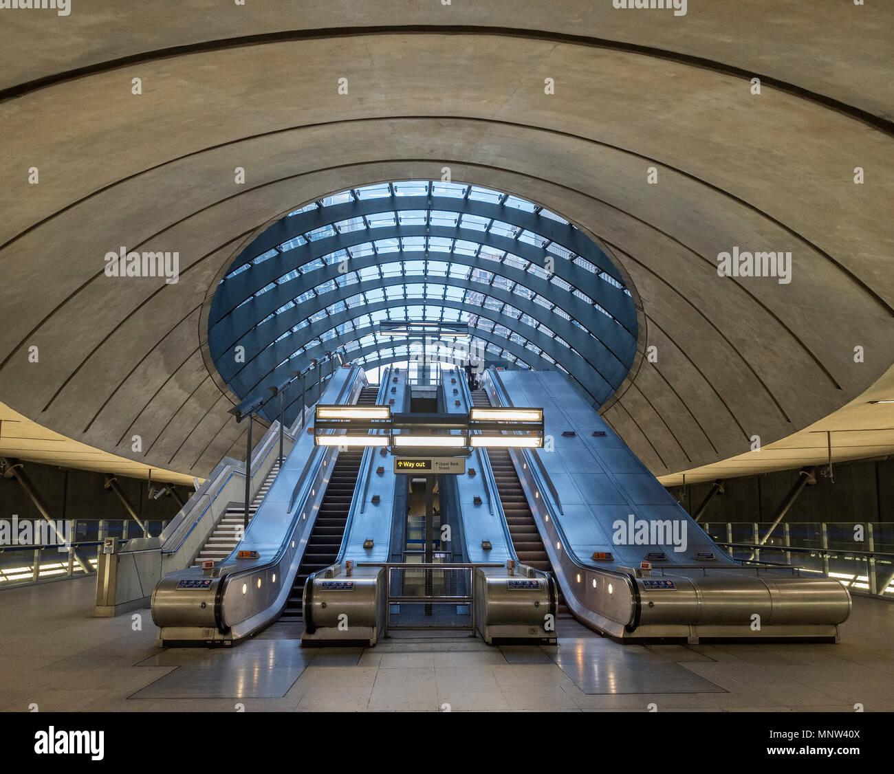 Canary Wharf Underground Station, Canary Wharf, London, England, UK - Stock Image