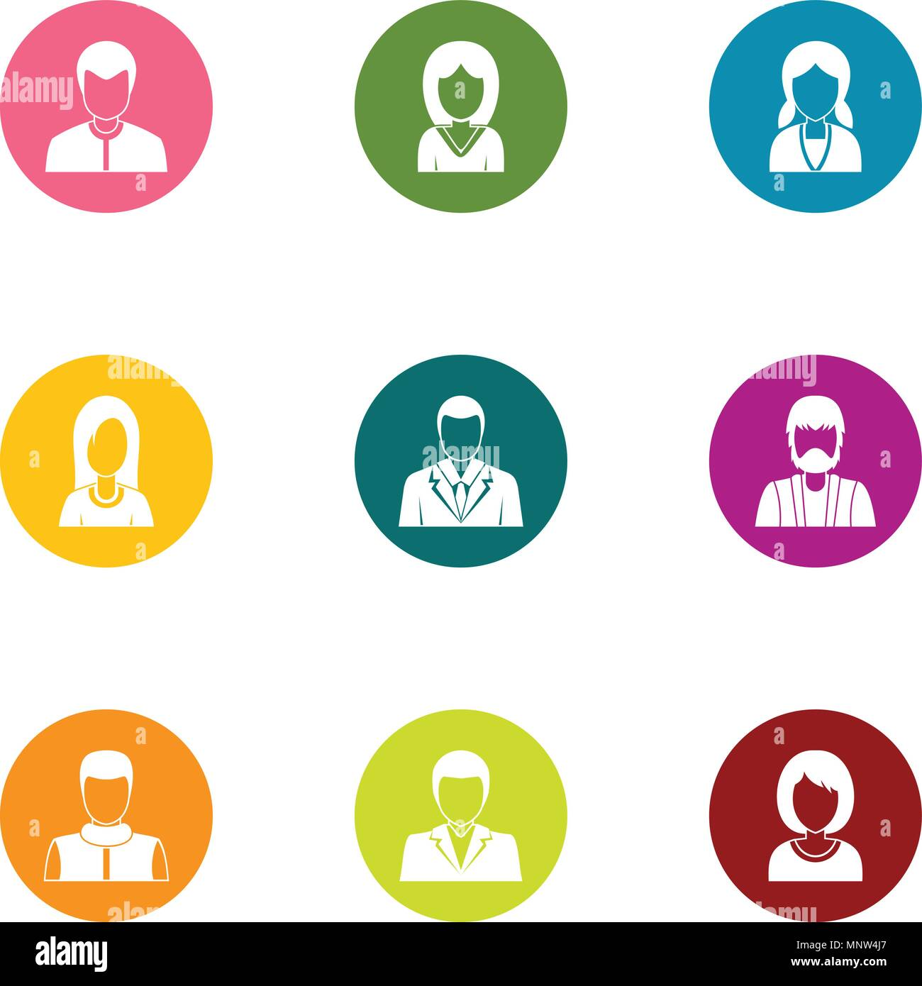 Personage icons set, flat style - Stock Image