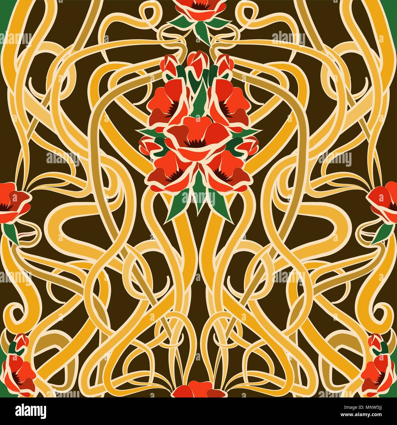 Seamless wallpaper with poppies in art nouveau style, vector ...