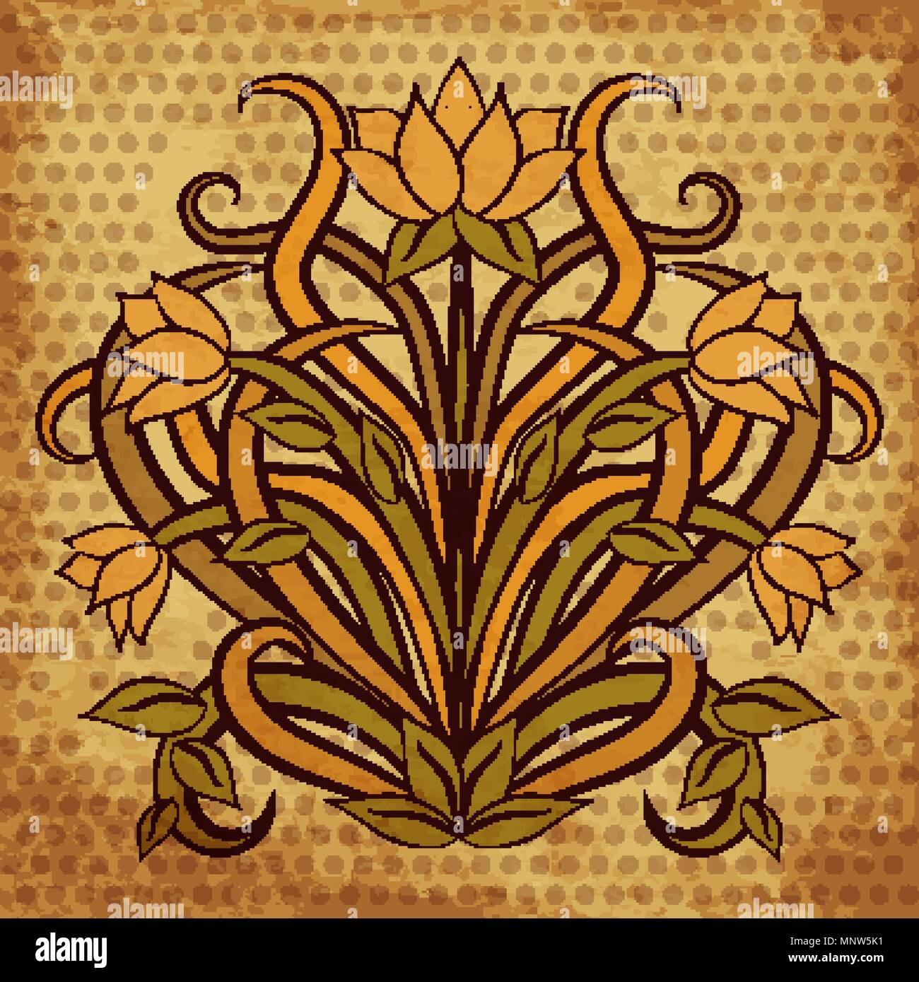 Floral Wallpaper In Art Nouveau Style Vector Illustration Stock