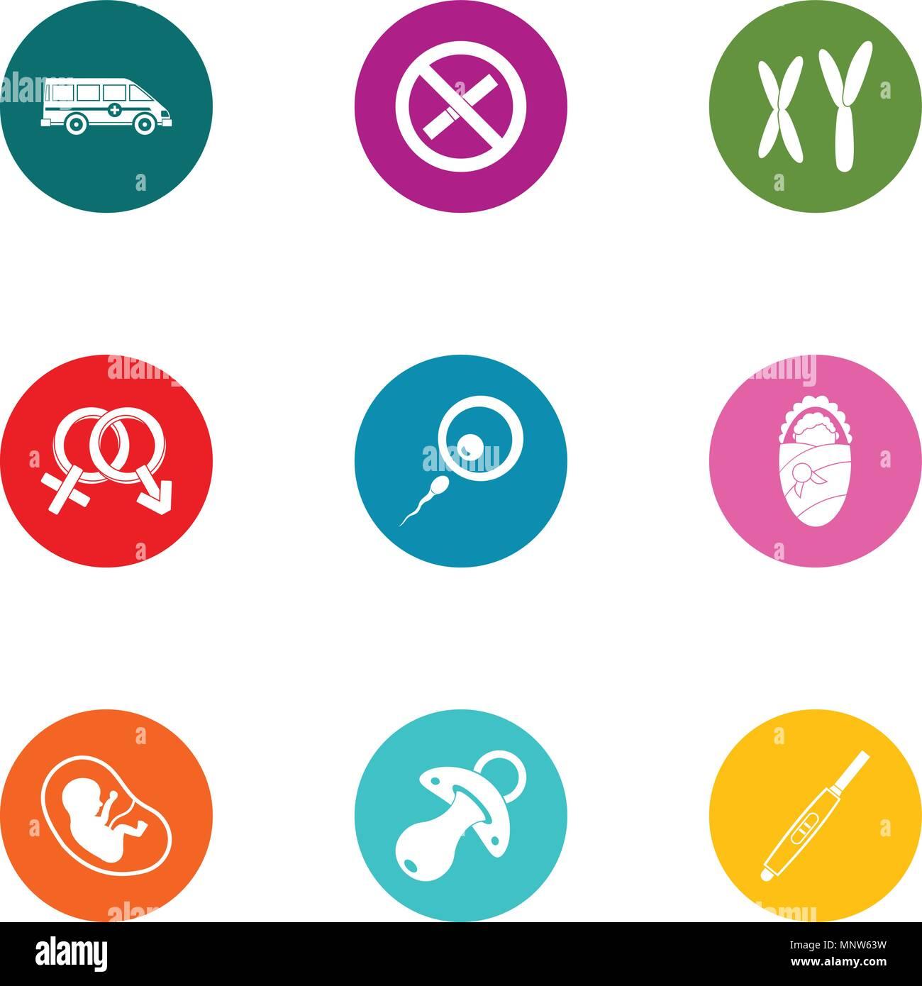 Maternity hospital icons set, flat style - Stock Image