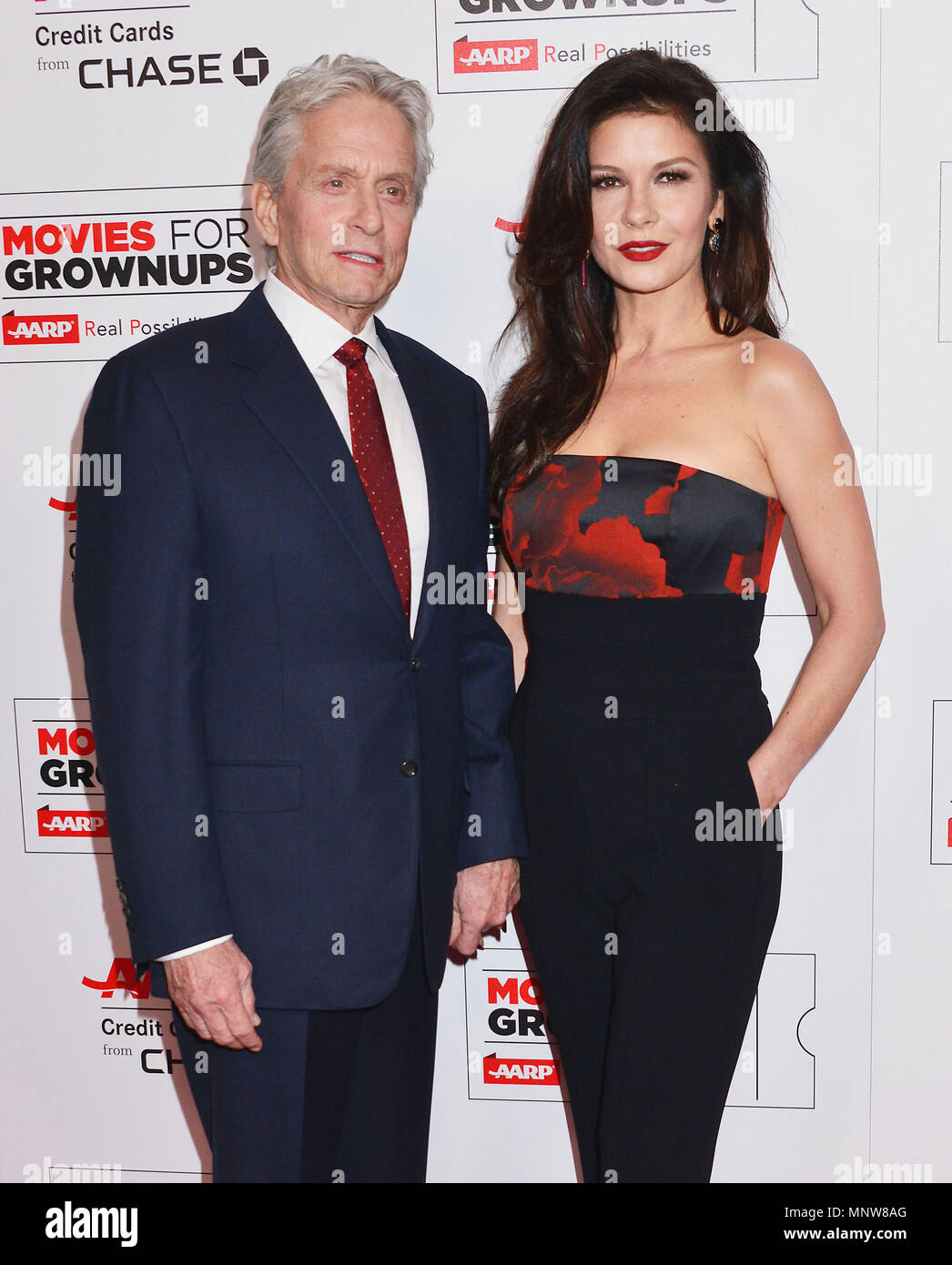 a _Michael Douglas, Catherine Zeta Jones 002 at the Movies For Grow Ups - AARP - at the Beverly Wilshire Hotel in Los Angeles. February 8, 2016.a  _Michael Douglas, Catherine Zeta Jones 000 ------------- Red Carpet Event, Vertical, USA, Film Industry, Celebrities,  Photography, Bestof, Arts Culture and Entertainment, Topix Celebrities fashion /  Vertical, Best of, Event in Hollywood Life - California,  Red Carpet and backstage, USA, Film Industry, Celebrities,  movie celebrities, TV celebrities, Music celebrities, Photography, Bestof, Arts Culture and Entertainment,  Topix, vertical,  family f - Stock Image