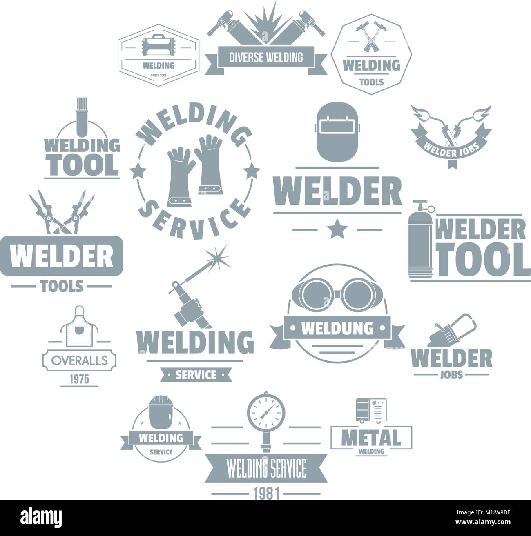 Welding Logo Icons Set Simple Style Stock Vector Image Art Alamy