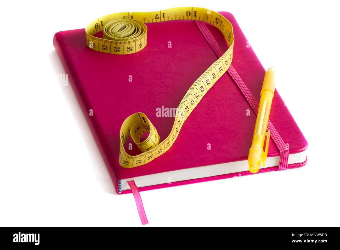 meter and nutrition diary isolated with soft shadow over white background - Stock Image