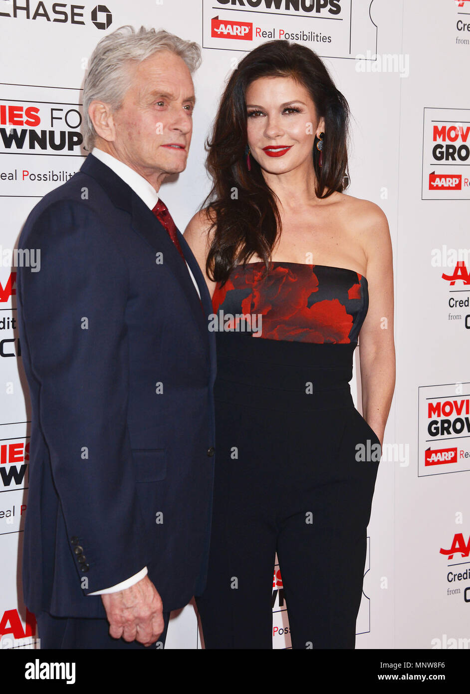 a_ Michael Douglas, Catherine Zeta Jones 005 at the Movies For Grow Ups - AARP - at the Beverly Wilshire Hotel in Los Angeles. February 8, 2016.a_ Michael Douglas, Catherine Zeta Jones 005 ------------- Red Carpet Event, Vertical, USA, Film Industry, Celebrities,  Photography, Bestof, Arts Culture and Entertainment, Topix Celebrities fashion /  Vertical, Best of, Event in Hollywood Life - California,  Red Carpet and backstage, USA, Film Industry, Celebrities,  movie celebrities, TV celebrities, Music celebrities, Photography, Bestof, Arts Culture and Entertainment,  Topix, vertical,  family fr - Stock Image