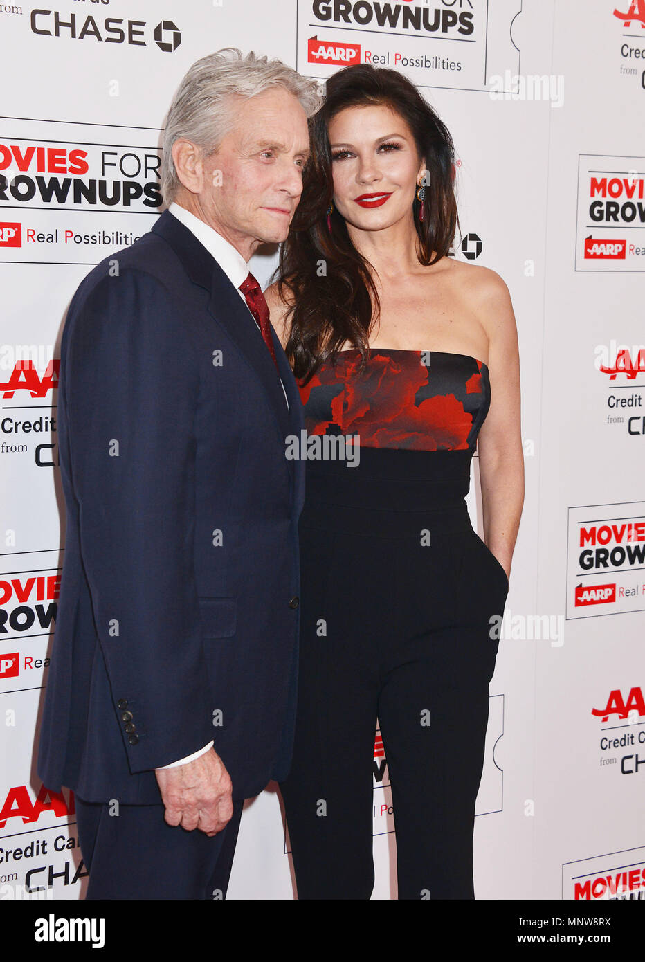 a_Michael Douglas, Catherine Zeta Jones 006 at the Movies For Grow Ups - AARP - at the Beverly Wilshire Hotel in Los Angeles. February 8, 2016.a_Michael Douglas, Catherine Zeta Jones 006 ------------- Red Carpet Event, Vertical, USA, Film Industry, Celebrities,  Photography, Bestof, Arts Culture and Entertainment, Topix Celebrities fashion /  Vertical, Best of, Event in Hollywood Life - California,  Red Carpet and backstage, USA, Film Industry, Celebrities,  movie celebrities, TV celebrities, Music celebrities, Photography, Bestof, Arts Culture and Entertainment,  Topix, vertical,  family from - Stock Image