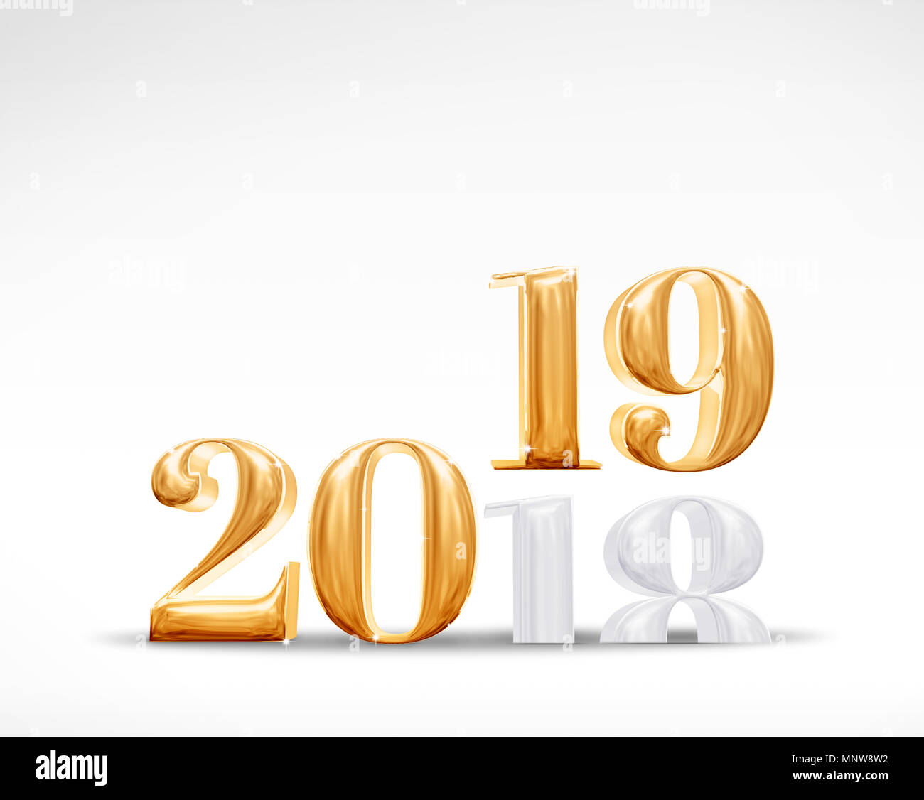 2018 change to 2019 new year golden number 3d rendering on white studio room backgroundholiday celebration card
