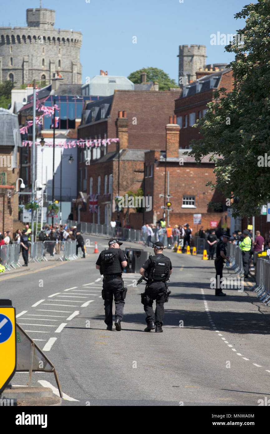 Police security at the Royal wedding of Prince Harry and Meghan Markle. Stock Photo