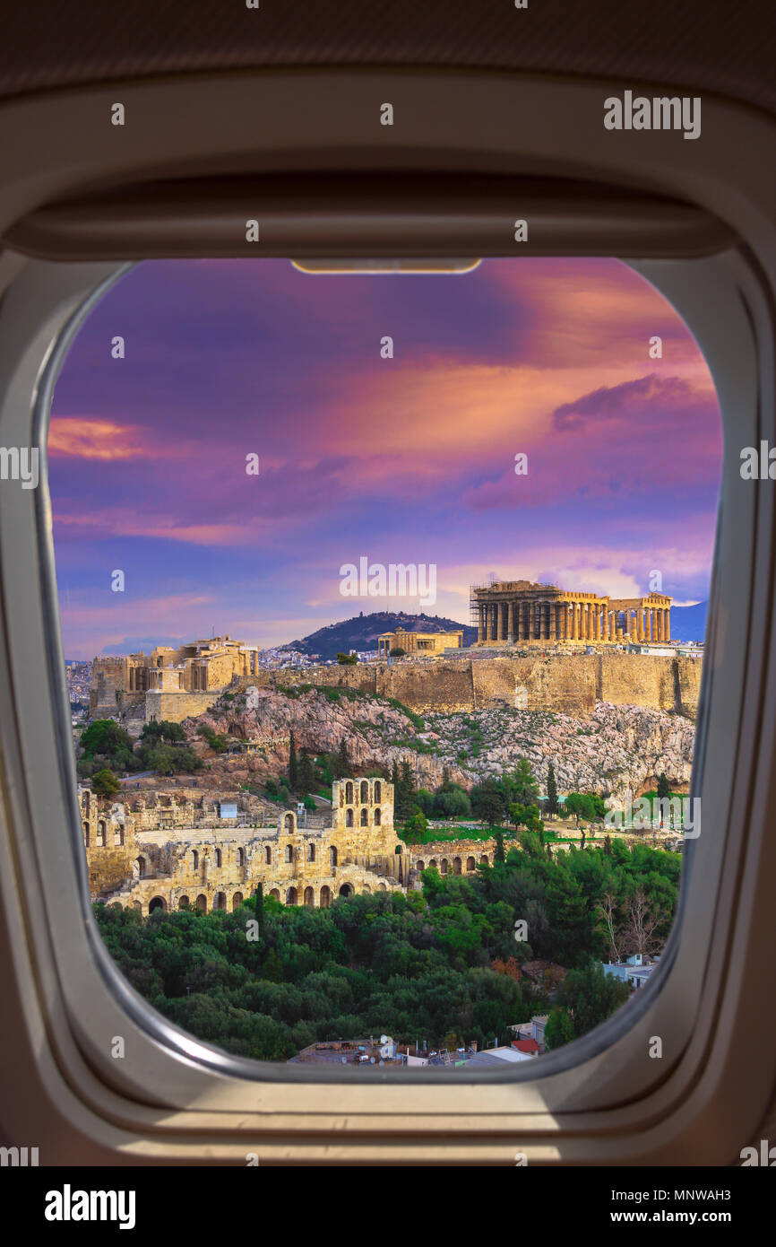 The theater of Herodion Atticus under the ruins of Acropolis, Athens, Greece through an airplane window. - Stock Image