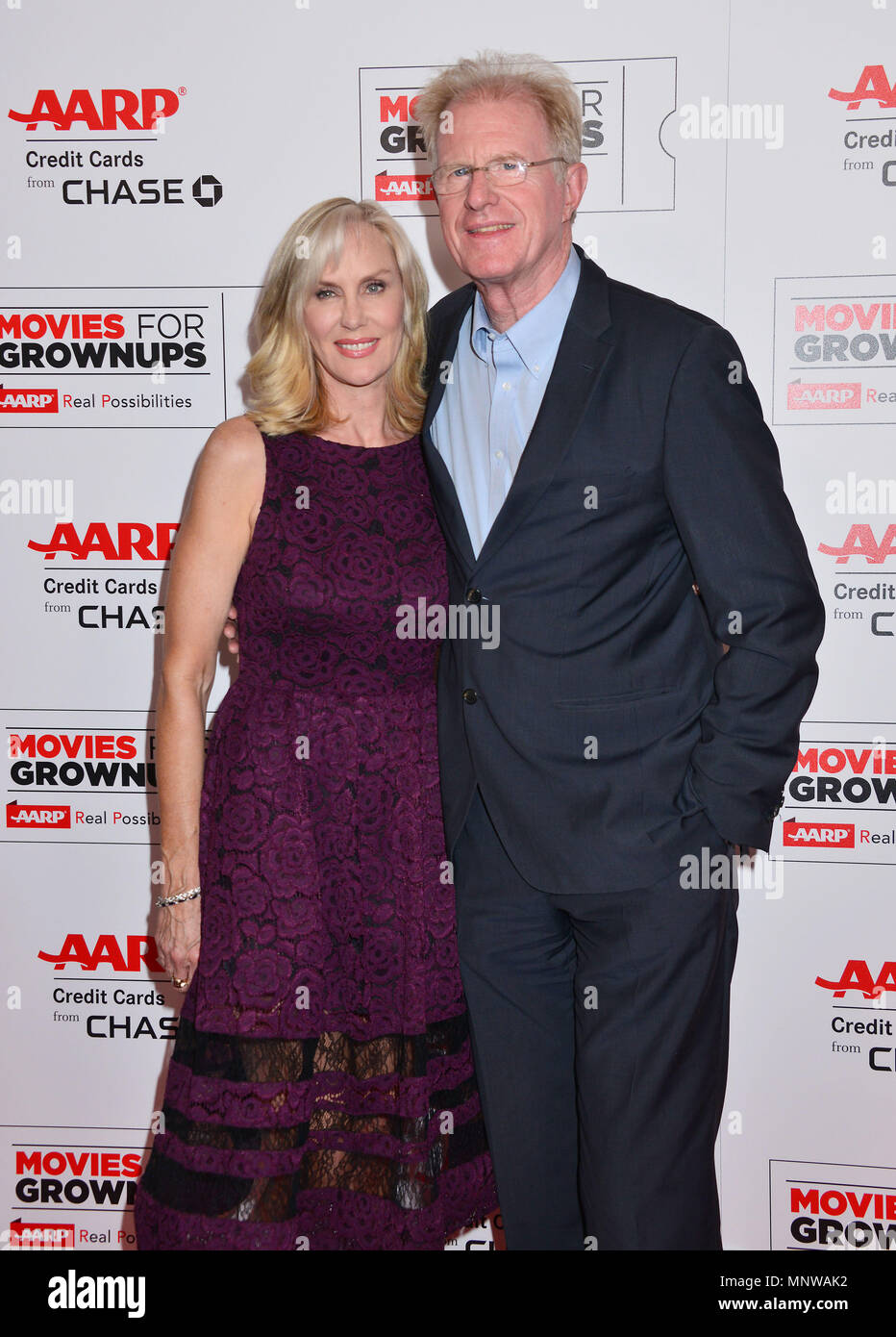 Ed Begley and Rachelle Carson-Begley, at the Movies For Grow Ups - AARP - at the Beverly Wilshire Hotel in Los Angeles. February 8, 2016.Ed Begley and Rachelle Carson-Begley, ------------- Red Carpet Event, Vertical, USA, Film Industry, Celebrities,  Photography, Bestof, Arts Culture and Entertainment, Topix Celebrities fashion /  Vertical, Best of, Event in Hollywood Life - California,  Red Carpet and backstage, USA, Film Industry, Celebrities,  movie celebrities, TV celebrities, Music celebrities, Photography, Bestof, Arts Culture and Entertainment,  Topix, vertical,  family from from the ye - Stock Image