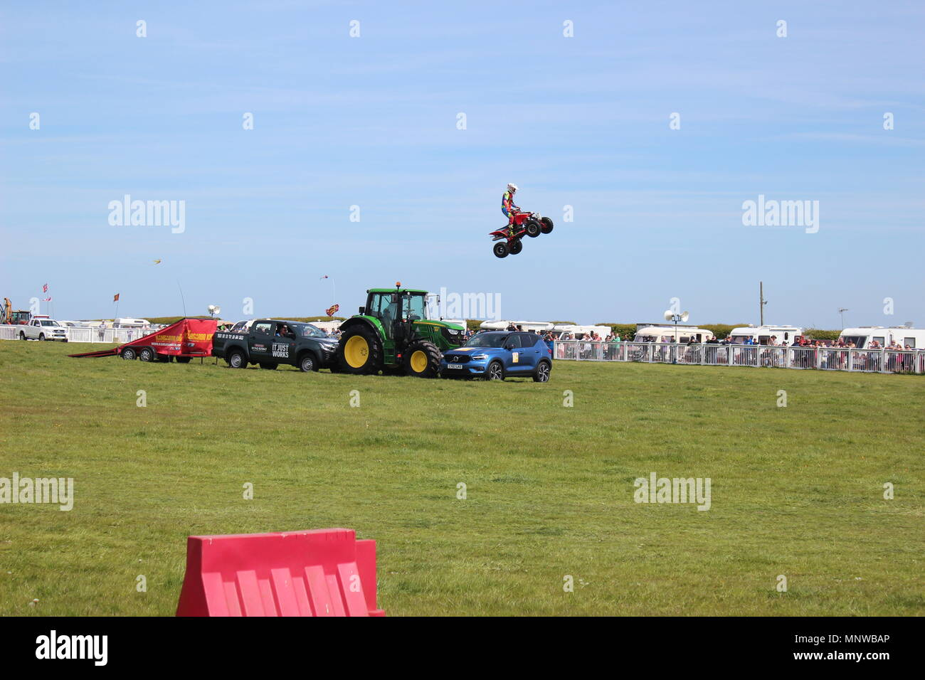 Anglesey Wales, 19 May 2018.   Matt Coulter, the Kangaroo Kid is a world class stuntman for the gold coast, Australia. his stunts are performed on quad bike, he is performing at the showground vintagerally Anglesey North Wales Credit: michael clarke/Alamy Live News - Stock Image