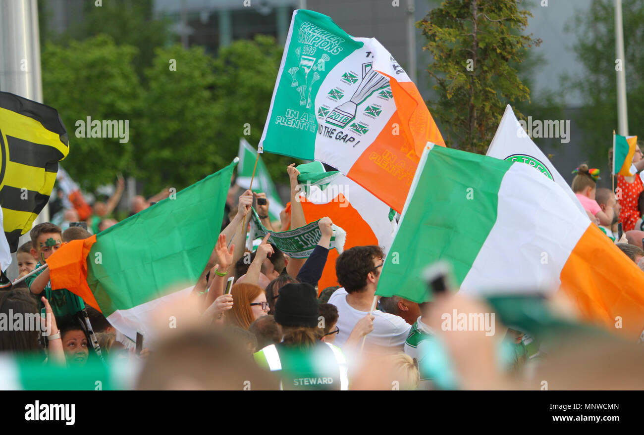 Hampden Park, Glasgow, UK. 19th May, 2018. Scottish Cup football final, Celtic versus Motherwell; Celtic fans gathered at Celtic Park Credit: Action Plus Sports/Alamy Live News Stock Photo