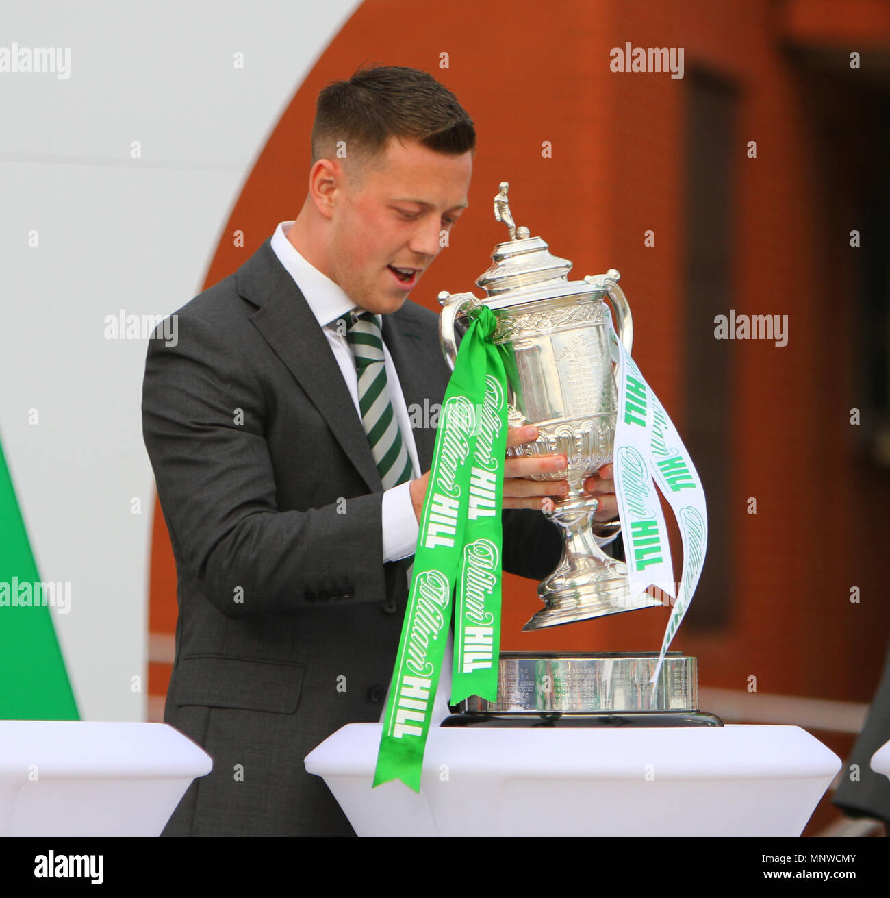 Hampden Park, Glasgow, UK. 19th May, 2018. Scottish Cup football final, Celtic versus Motherwell; Callum McGregor brings up the Scottish cup Credit: Action Plus Sports/Alamy Live News - Stock Image