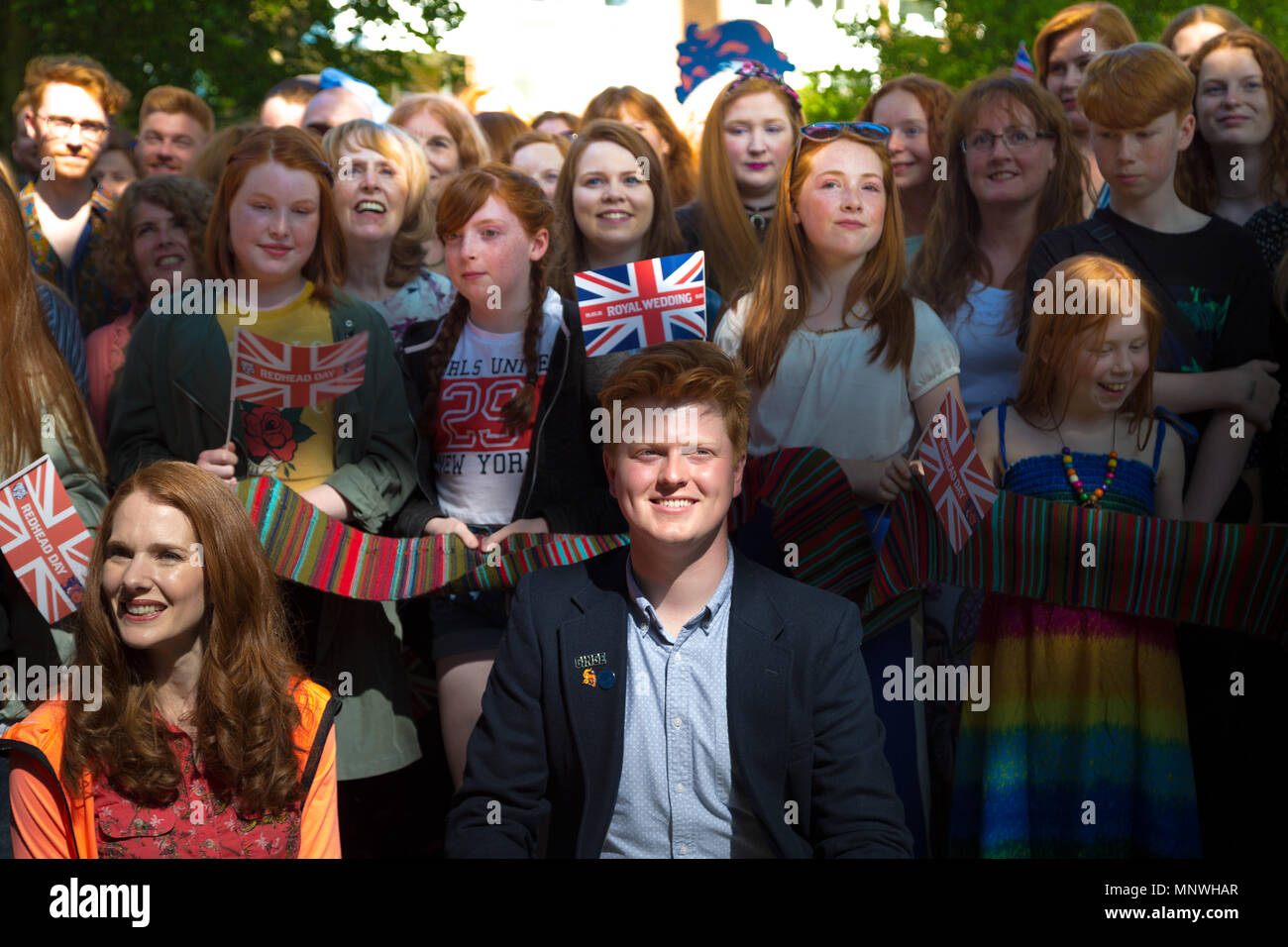 London, UK. 19th May 2018. Redhead Day UK in north London. The annual event sees hundreds of 'gingers' from around the world join in celebration of red hair. Credit: Guy Corbishley/Alamy Live News - Stock Image
