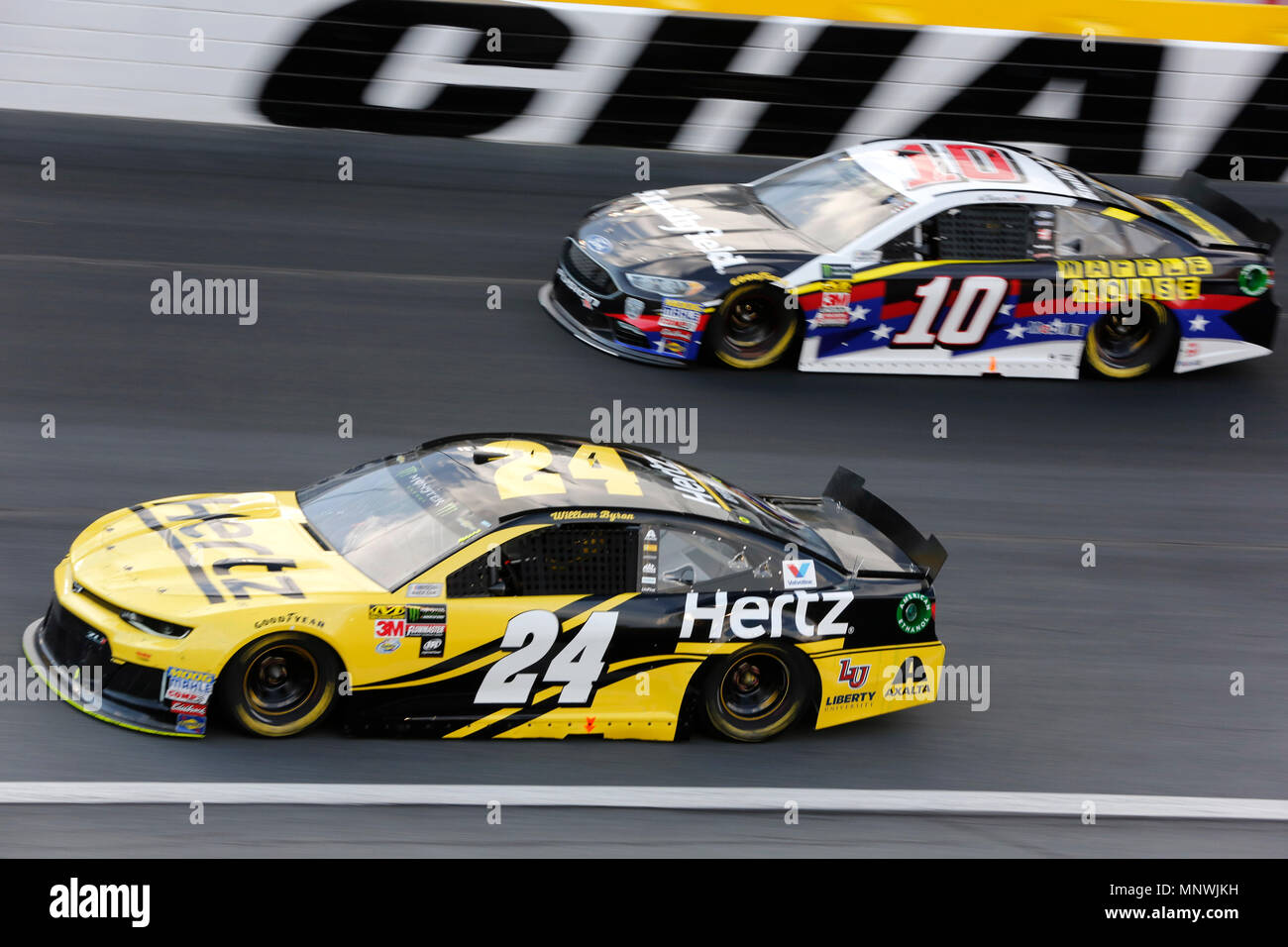Concord NC USA 19th May 2018 Monster Energy NASCAR Cup Series Driver Aric Almirola 10 And William Byron 24