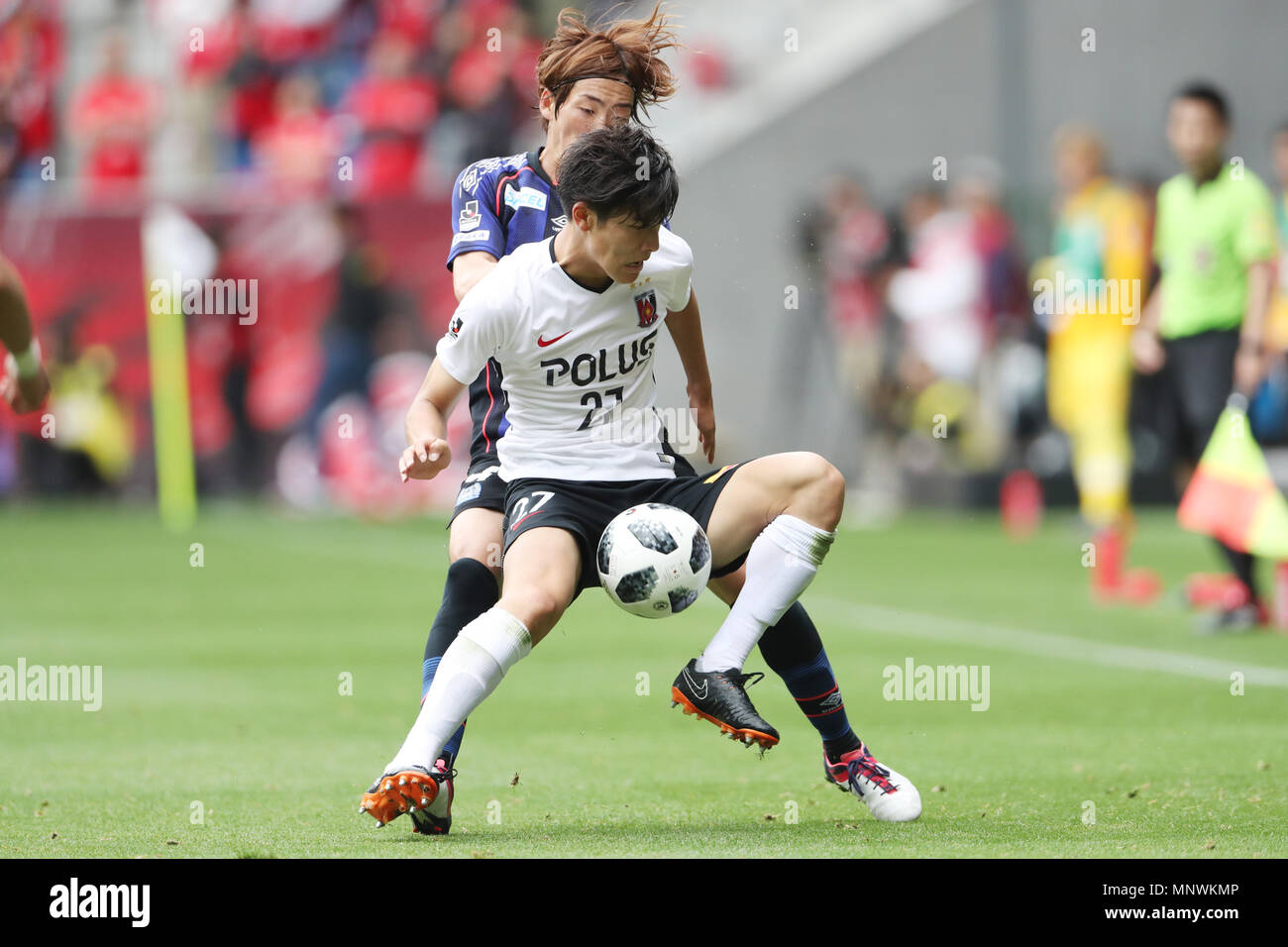 Osaka Japan 19th May 2018 L To R Hiroki Fujiharu Gamba Daiki Hashioka Reds Football Soccer