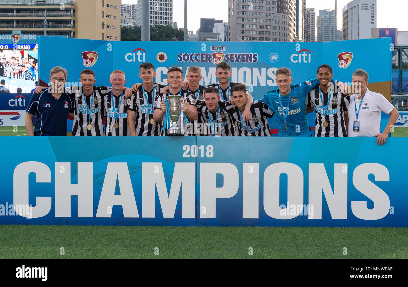 Hong Kong, China. 20th May 2018. HKFC Citi Soccer Sevens 2018 Hong Kong.Newcastle United win the 2018 Cup Final with a 1-0 victory over Glasgow Rangers. Newcastle United Captain, Owen Bailey holds up the cup. Alamy Live Photo Credit: Jayne Russell/Alamy Live News - Stock Image