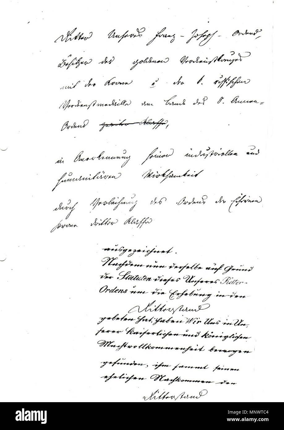 . Deutsch: Seite 2 der Kanzleiabschrift des Ritterstandsdiploms von Franz Joseph I. (Kaiser von Österreich 1848-1916) für den Glasfabrikanten Wilhelm Kralik (als Ritter des Ordens der Eisernen Krone III. Klasse) mit Verleihung des Prädikates 'von Meyrswalden'. Original des Ritterstandsdiploms ausgestellt in Wien am 11. April 1877, Kanzleiabschrift in den Beständen des k.u.k. Ministeriums des Innern - Ministerial-Adels-Verzeichnis. 1877. k.u.k. Ministerium des Innern im Auftrag Kaiser Franz Josephs I. 1066 Ritterstandsdiplom Kralik von Meyrswalden 1877 (Kanzleiabschrift) Seite 2 Stock Photo