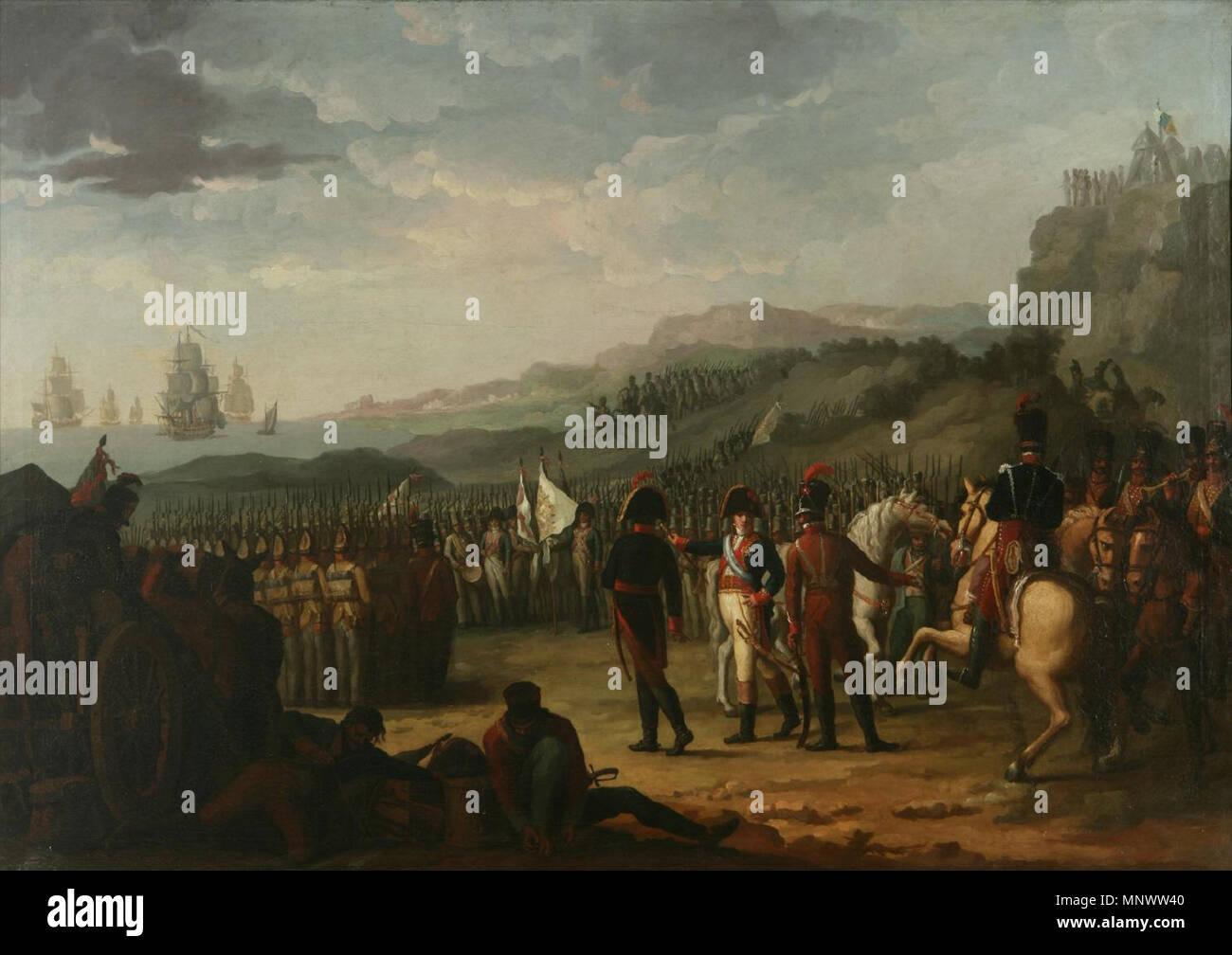 Embarque del marqués de la Romana y sus tropas .  Español: El lienzo representa el momento en que las tropas españolas a las órdenes del marqués de la Romana, Pedro Caro y Sureda, se disponían a embarcar hacia Dinamarca para proteger a Dinamarca, que era aliada de Napoleón, al tiempo que esperaban la orden para invadir Suecia, operación que nunca se llevó a cabo. Pero cuando el cuerpo expedicionario español, que estaba formado por unos 14.000 hombres, tuvo conocimiento del levantamiento del 2 de mayo contra las tropas napoleónicas que habían invadido España, intentaron huir de Dinamarca y lo c - Stock Image