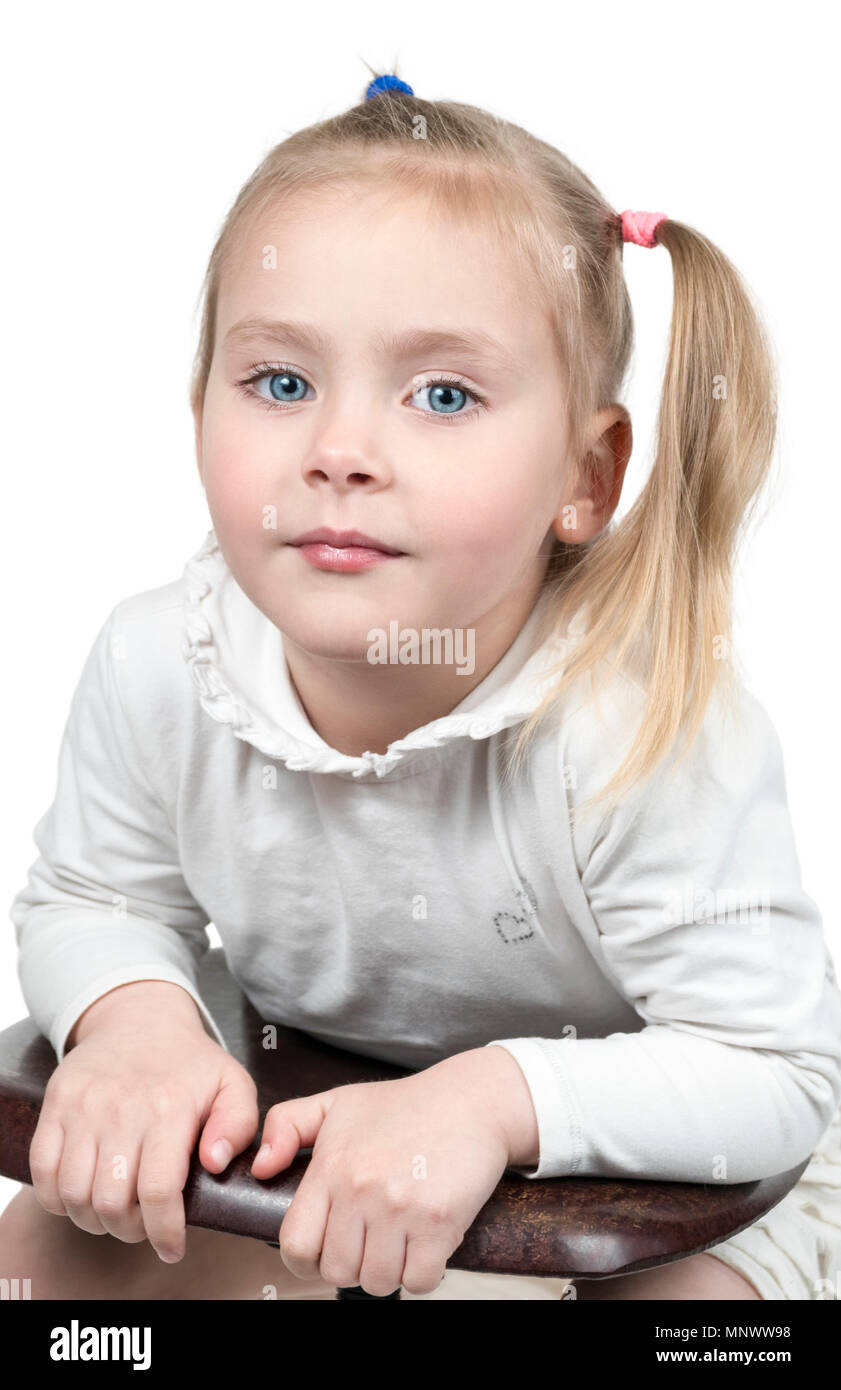 Pleasant Portrait Of A Pretty Little Girl With A Ponytail Sideways Leaning Schematic Wiring Diagrams Amerangerunnerswayorg