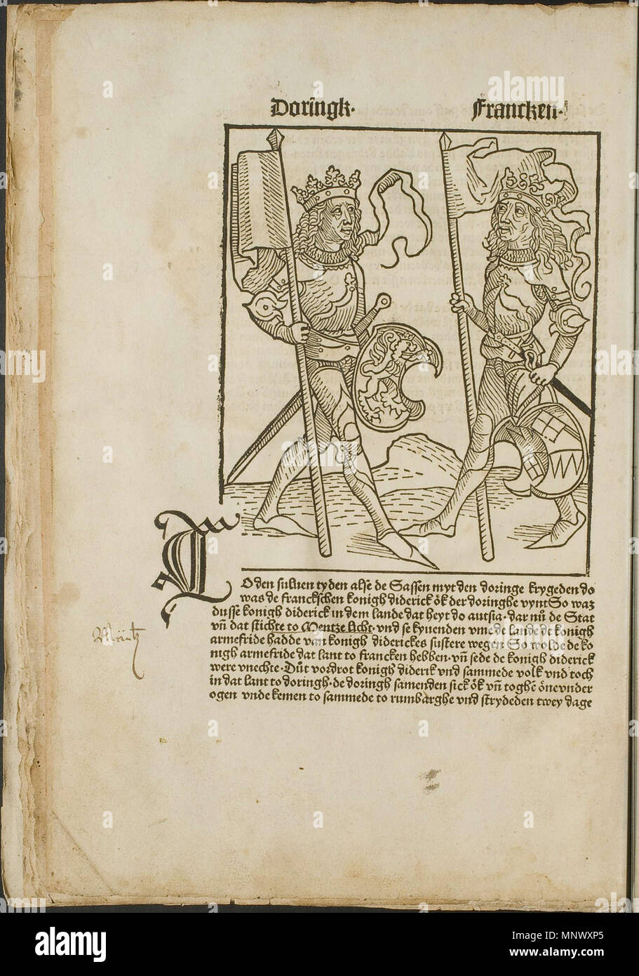 . Illustration from the incunabulum: Cronecken der Sassen (The Chronicles of Saxony) printed by Peter Schöffer in Mainz. 1492. Conrad Bote (Konrad Botho) 1075 Royals with Crests p00022 Stock Photo