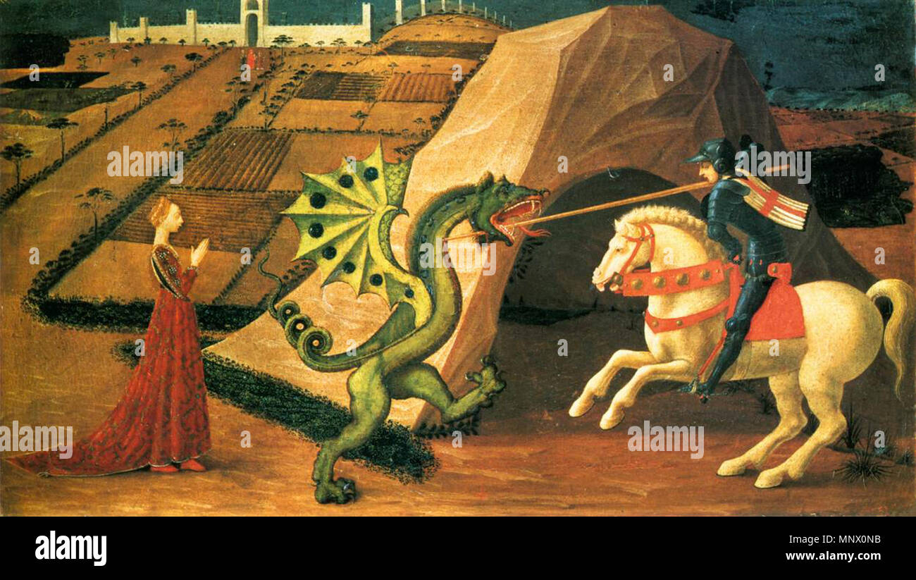 English: St George and the Dragon between 1458 and 1460. 1084 Saint George  and the Dragon by Paolo Uccello (Paris) 01