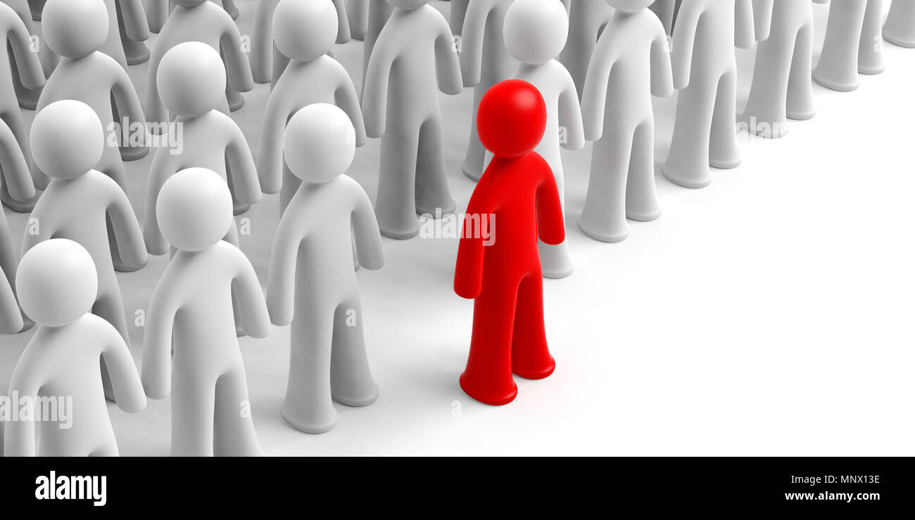 Leader or distinction concept. Crowd of white human figures, one red figure ahead, on white background, copy space. 3d illustration - Stock Image