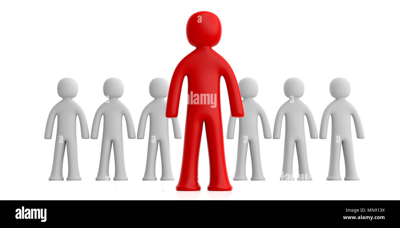 Leader or distinction concept. Team of white human figures, one red figure ahead, isolated on white background. 3d illustration - Stock Image