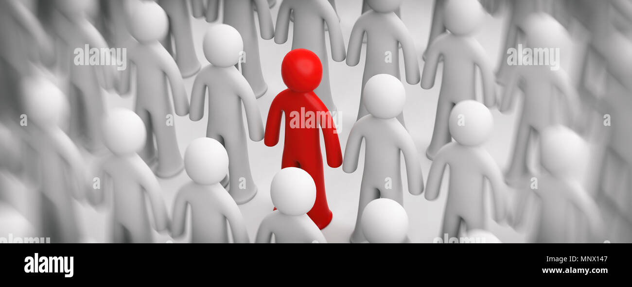 Difference, differentiation concept. Blur crowd of white human figures, one red figure on white background, banner. 3d illustration - Stock Image