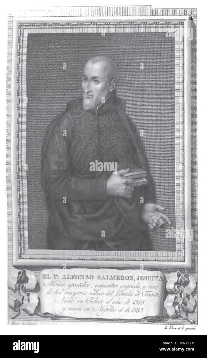 . Retrato de Alfonso Salmerón. 1791. Grabado de Luis Fernández Noseret por dibujo de José Maea 1086 Alfonso Salmeron - Stock Image