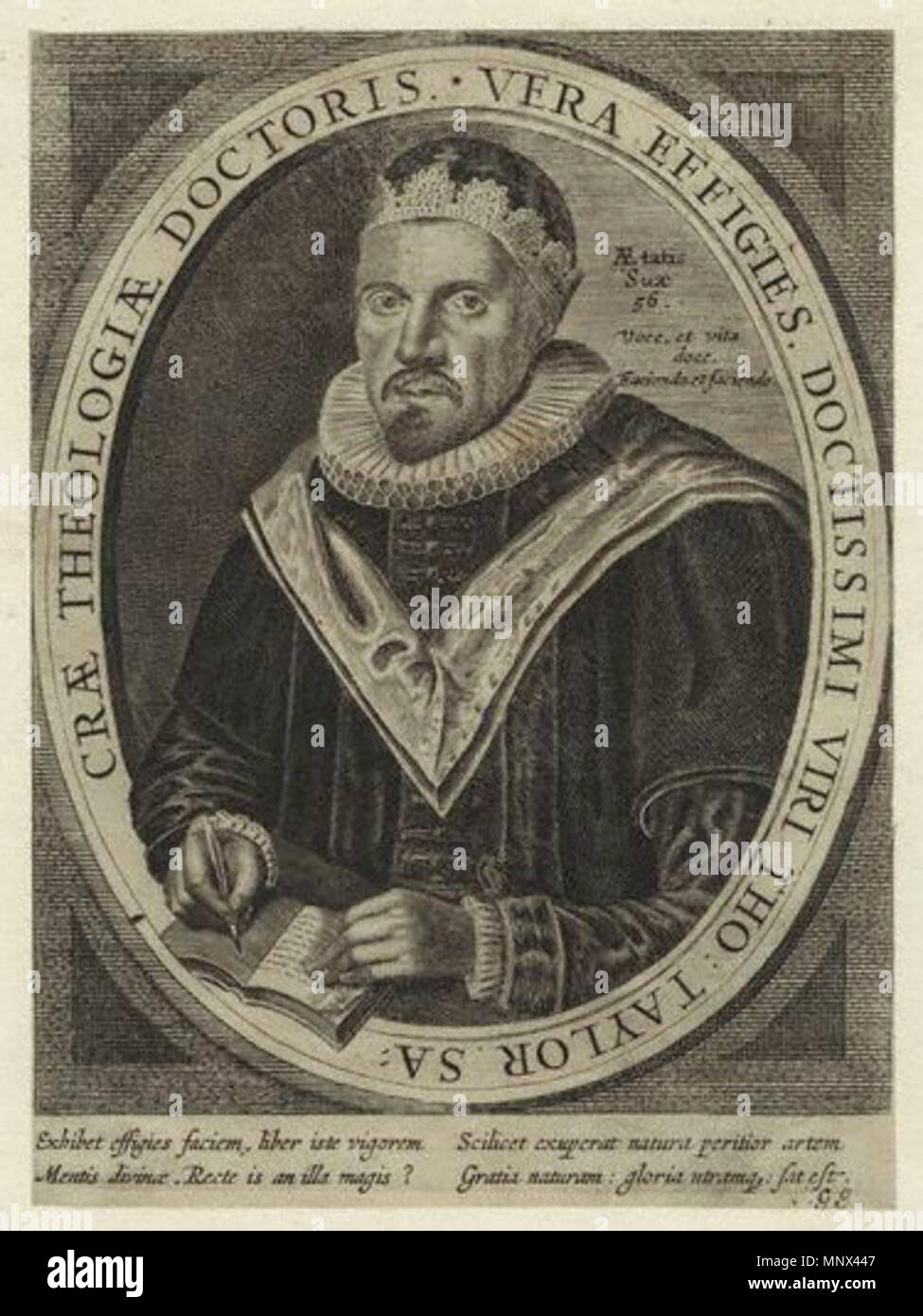 after William Marshall,print,after 1633    . English: Portrait of the clergyman Thomas Taylor (1576-1633). sometime after 1633. Engraving after William Marshall 1190 Thomas Taylor - Stock Image