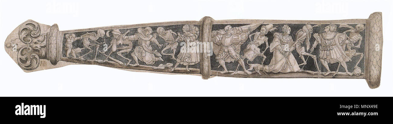 . English: Design for a Scabbard with Dance of Death. Pen and ink and brush, brown wash, grey-primed paper, 57 × 28.1 cm (largest dimensions), Kunstmuseum Basel. All the surviving examples of Holbein's designs for scabbards on the theme of the Dance of Death are copies, perhaps a few from his own workshop but most seemingly not made until the late 16th century. The earliest surviving scabbards made to this design are from the second half of the 16th century. This type of scabbard was for the Swiss dagger, which could be worn horizontally at the hip. The motifs would stand out against a dark ba - Stock Image