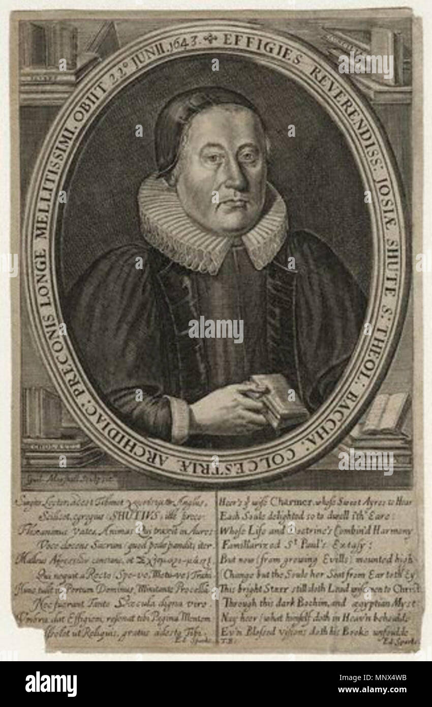 by William Marshall,print,published 1649    . English: Engraving of Josias Shute (1588-1643), member of the Westminster Assembly. 1649. William Marshall 744 Josias Shute - Stock Image