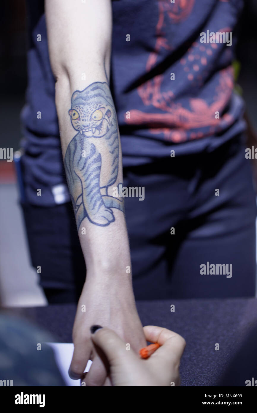 St. Petersburg, Russia - May 18, 2018: Unidentified tattoo model on ...