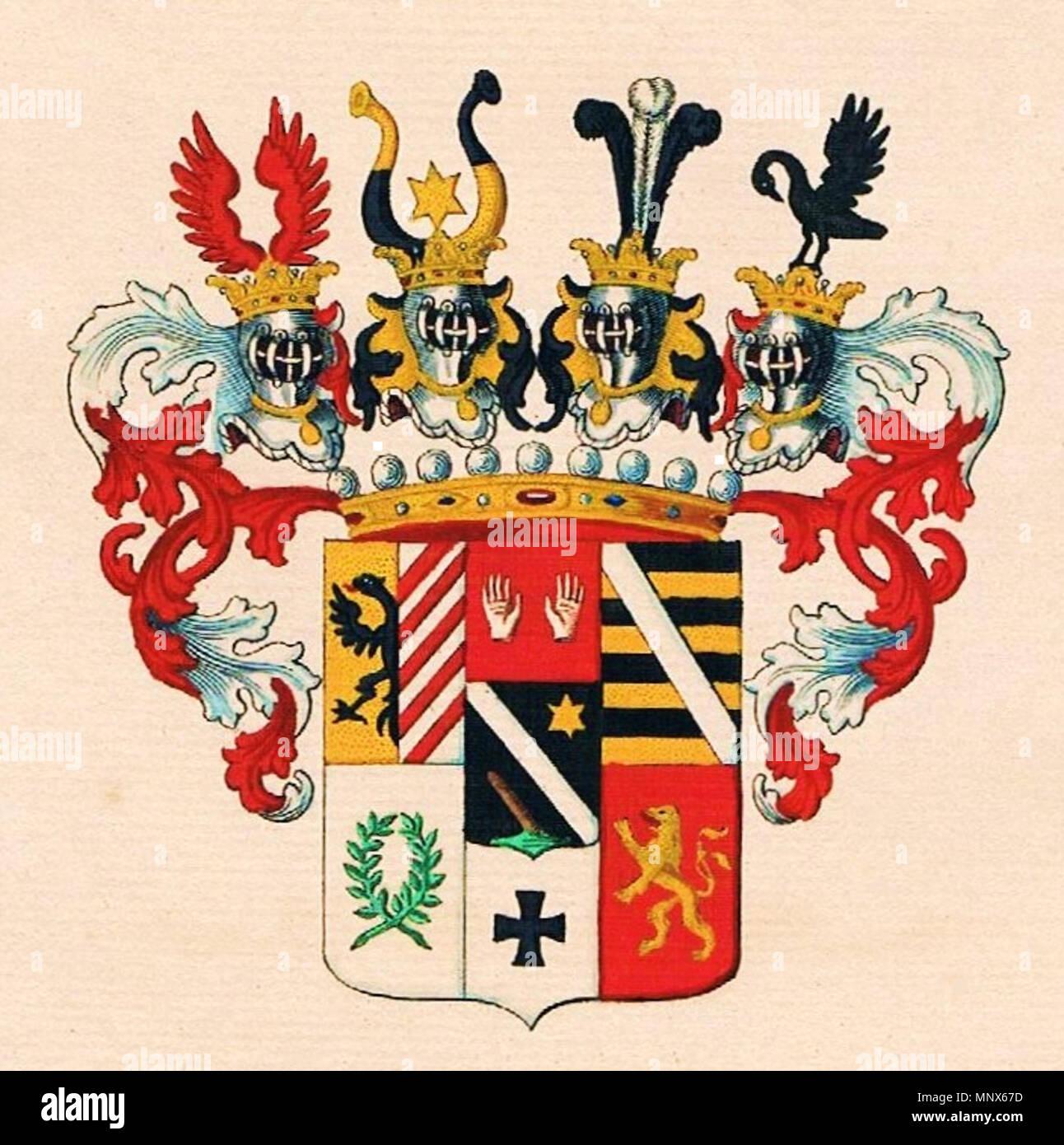 . Wappen der Grafen von Schrattenbach († 1875) . 1834. Unknown 1105 Schrattenbach-Grafen-Wappen Stock Photo