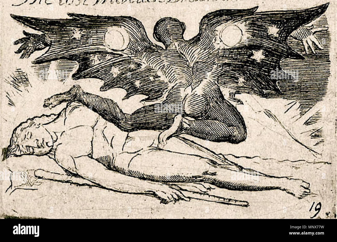 . Blake's To the Accuser, from The Gates of Paradise, with the text cropped out. uncertain, will check Essick's 'William Blake, Printmaker' when I get the chance.   William Blake (1757–1827)   Alternative names W. Blake; Uil'iam Bleik  Description British painter, poet, writer, theologian, collector and engraver  Date of birth/death 28 November 1757 12 August 1827  Location of birth/death Broadwick Street Charing Cross  Work location London  Authority control  : Q41513 VIAF:54144439 ISNI:0000 0001 2096 135X ULAN:500012489 LCCN:n78095331 NLA:35019221 WorldCat 1197 To the Accuser Cropp - Stock Image