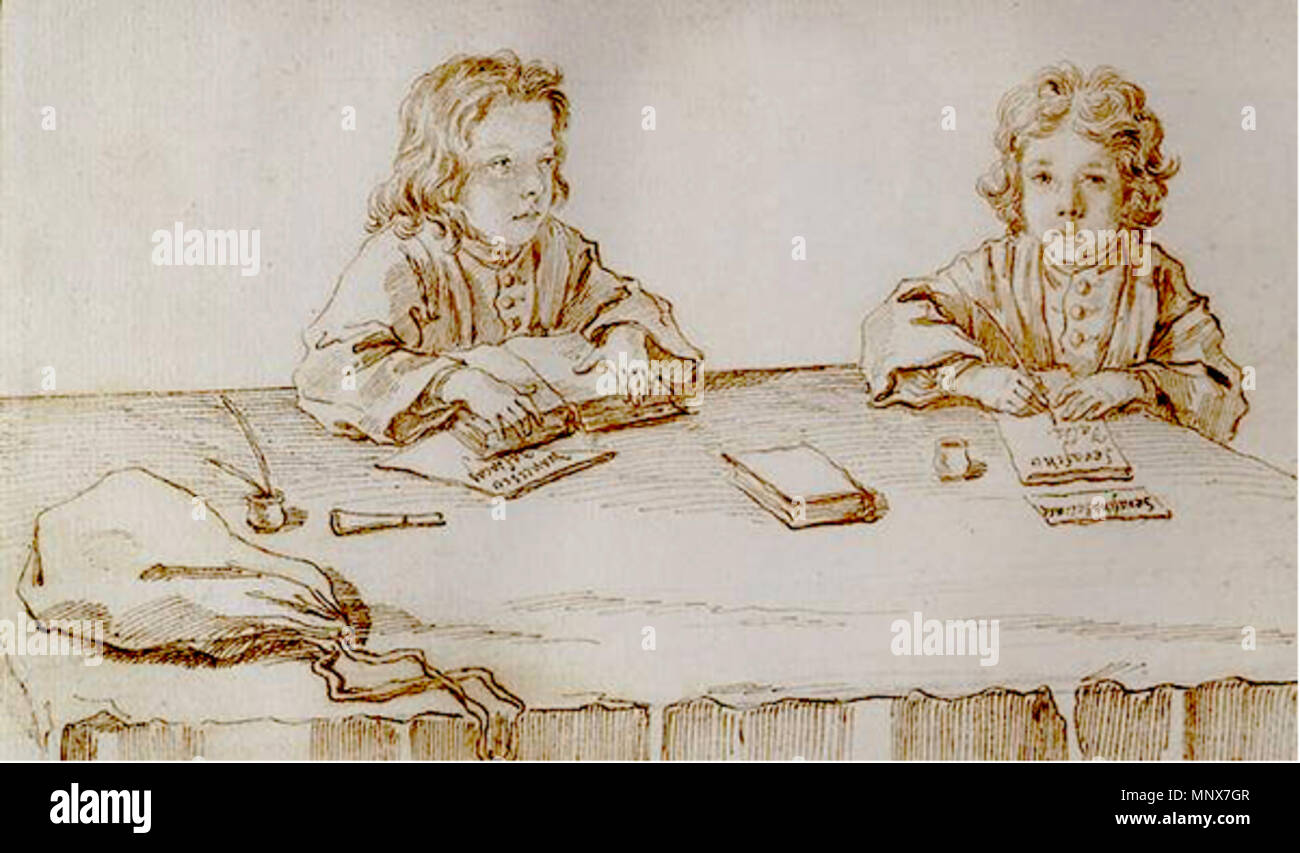 . Español: Esbozo de 'Serafino y Francesco Falsacapa estudiando en la mesa', por Pier Leone Ghezzi . 18th century.   Pier Leone Ghezzi  (1674–1755)     Description caricaturist and painter  Date of birth/death 28 June 1674 6 March 1755  Location of birth/death Rome Rome  Work location Florence (1711); Rome (1695 - 1755)  Authority control  : Q429072 VIAF: 17453553 ISNI: 0000 0001 0844 443X ULAN: 500014963 LCCN: n86091499 NLA: 36048180 WorldCat 1111 Serafino y Francesco Falsacapa estudiando en la mesa Stock Photo